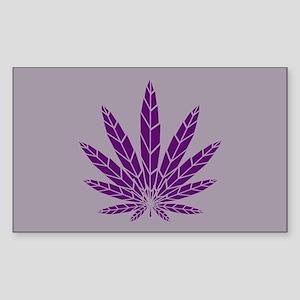 Purple Leaf Sticker (Rectangle)