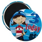 Cute Pirate Girl 3rd Birthday Magnet