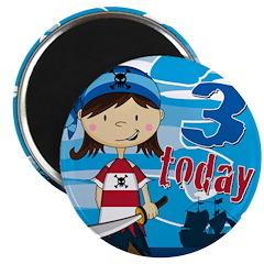 Cute Pirate Girl 3rd Birthday Magnet