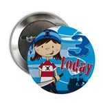 "Cute Pirate Girl 3rd Birthday 2.25"" Button"