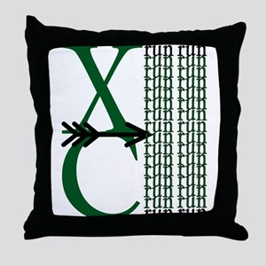 XC Run Dark Green White Throw Pillow