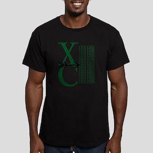 XC Run Dark Green White Men's Fitted T-Shirt (dark
