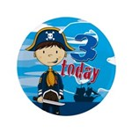 "Adorable Pirate Boy 3rd Birthday Badge 3.5"" B"