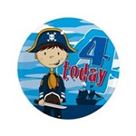 "Adorable Pirate Boy 4th Birthday 3.5"" Button"
