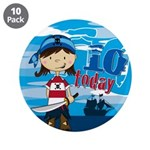 "Pirate Girl 10th Birthday 3.5"" Button (10 Pk)"