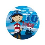 "Cute Pirate Girl 10th Birthday 3.5"" Button"