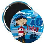 Adorable Pirate Girl 10th Birthday Magnet