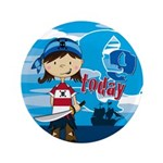 "Cute Pirate Girl 9th Birthday 3.5"" Button"