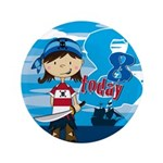 "Cute Pirate Girl 8th Birthday 3.5"" Button"