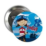 "Cute Pirate Girl 8th Birthday 2.25"" Button"