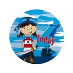 "Cute Pirate Girl 7th Birthday 3.5"" Button (10"