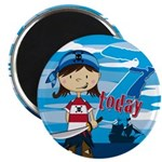 "Pirate Girl 7th Birthday 2.25"" Magnet (10 Pk)"