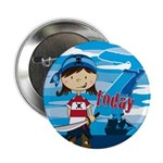 "Cute Pirate Girl 7th Birthday 2.25"" Button"