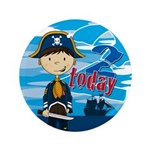 "Cute Pirate Boy 2nd Birthday 3.5"" Button (100"