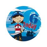 "Cute Pirate Girl 6th Birthday 3.5"" Button (10"