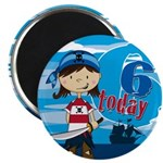 Cute Pirate Girl 6th Birthday Magnet