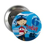 "Cute Pirate Girl 6th Birthday 2.25"" Button"