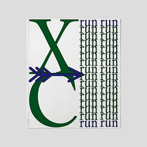 XC Run Dark Green Navy Throw Blanket
