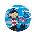 "Cute Pirate Girl 5th Birthday 3.5"" Button"
