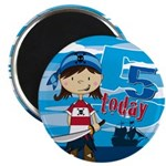 "Cute Pirate Girl 5th Birthday 2.25"" Magnet (1"