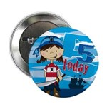 "Cute Pirate Girl 5th Birthday 2.25"" Button (1"