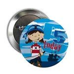 "Cute Pirate Girl 5th Birthday 2.25"" Button"