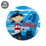 "Pirate Girl 4th Birthday 3.5"" Button (10 Pk)"