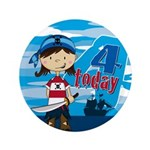 "Cute Pirate Girl 4th Birthday 3.5"" Button"