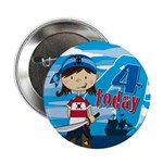 "Cute Pirate Girl 4th Birthday 2.25"" Button (1"