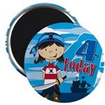 Cute Pirate Girl 4th Birthday Magnet