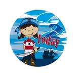 "Cute Pirate Girl 2nd Birthday 3.5"" Button (10"
