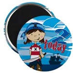 "Cute Pirate Girl 2nd Birthday 2.25"" Magnet (1"