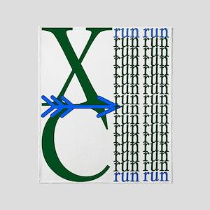 XC Run Green Blue Throw Blanket