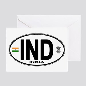 India Euro Oval (IND) Greeting Card