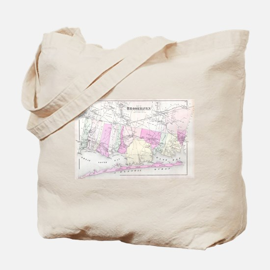 Vintage Brookhaven and Fire Island NY Map Tote Bag