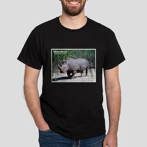 White Rhino Rhinoceros Photo (Front) Black T-Shirt
