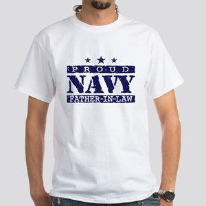 Proud Navy Father In Law White T-Shirt