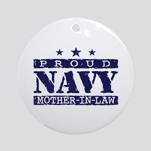 Proud Navy Mother In Law Ornament (Round)