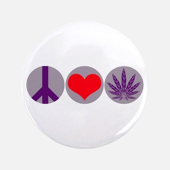 """Peace Love Purple Leaf 3.5"""" Button"""