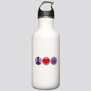 Peace Love Purple Leaf Stainless Water Bottle 1.0L