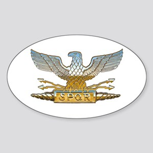 Chrome Roman Eagle Sticker (Oval)