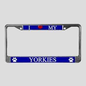 Blue I Love My Yorkies Frame