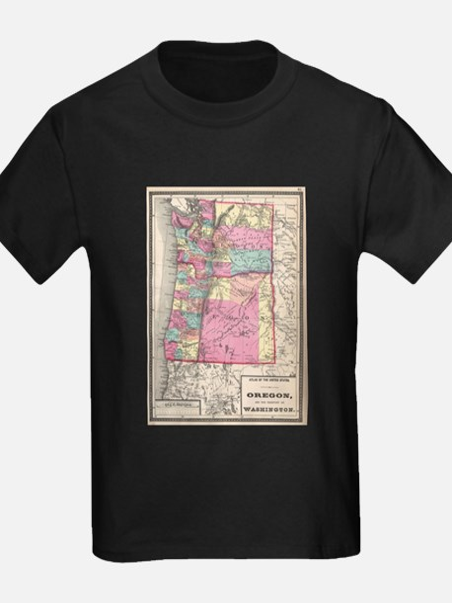 Vintage Map of Washington and Oregon (1872 T-Shirt