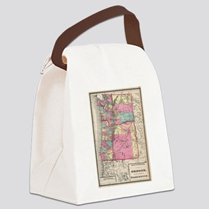Vintage Map of Washington and Ore Canvas Lunch Bag