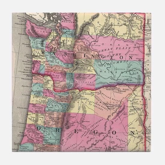 Vintage Map of Washington and Oregon Tile Coaster