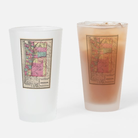 Vintage Map of Washington and Orego Drinking Glass
