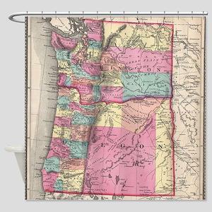 Vintage Map of Washington and Orego Shower Curtain