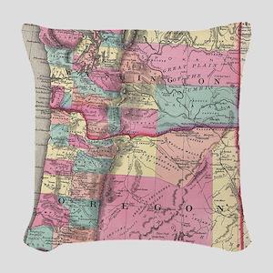 Vintage Map of Washington and Woven Throw Pillow