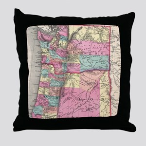 Vintage Map of Washington and Oregon Throw Pillow
