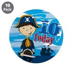 "Cute Pirate Boy 10th Birthday 3.5"" Button (10"